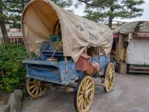 Ένα παλαιά καλυμμένα βαγόνι εμπορευμάτων και ένα όργανο, εργαλείο, συσκευή, συσκευή, μηχανή, συσκευή στοκ φωτογραφίες με δικαίωμα ελεύθερης χρήσης