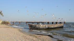 Ένα παλαιό αλιευτικό σκάφος έδεσε στην ακτή απόθεμα βίντεο