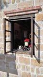 Ένα παλαιό παράθυρο ενός παλαιού σπιτιού με το παλαιό χρώμα Στοκ εικόνες με δικαίωμα ελεύθερης χρήσης