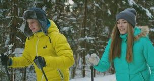 Ένα παντρεμένο ζευγάρι κάνει σκι στο δάσος εν ενεργεία έναν υγιή τρόπο ζωής κίνηση αργή φιλμ μικρού μήκους