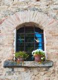 Ένα παράθυρο με τις χρωματισμένες βιολέτες στη στρωματοειδή φλέβα παραθύρων στοκ εικόνα