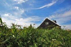 Ένα παραδοσιακό ξύλινο σπίτι στην Ολλανδία μέσα στην πράσινη χλόη σε έναν μπλε ουρανό στοκ εικόνες
