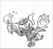 Ένα πετώντας φάντασμα με μια κολοκύθα και κινούμενα σχέδια φανών Στοκ Φωτογραφίες