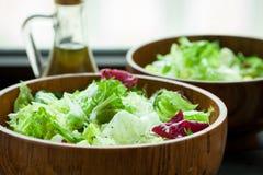 Ένα πιάτο της φρέσκιας σαλάτας frisse, Romano και του radiccio με το ελαιόλαδο, άλας και πρόσφατα αλεμένος percec σε ένα ξύλινο κ Στοκ εικόνες με δικαίωμα ελεύθερης χρήσης