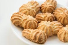 Ένα πιάτο του διπλασίου μπισκότων ζάχαρης Στοκ εικόνες με δικαίωμα ελεύθερης χρήσης