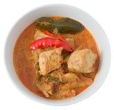Ένα πιάτο του κόκκινου κάρρυ με το γάλα καρύδων Στοκ Εικόνες