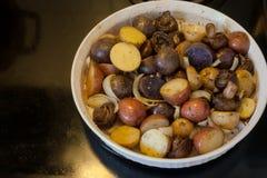 Ένα πιάτο των πατατών, των μανιταριών και του κρεμμυδιού που ψήνονται στο φούρνο στοκ φωτογραφίες με δικαίωμα ελεύθερης χρήσης