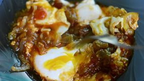 Ένα πιάτο των τηγανισμένων ντοματών, των κρεμμυδιών και των αυγών απόθεμα βίντεο