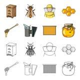 Ένα πλαίσιο με τις κηρήθρες, μια κουτάλα του μελιού, ένα fumigator από τις μέλισσες, ένα βάζο του μελιού Καθορισμένα εικονίδια συ ελεύθερη απεικόνιση δικαιώματος