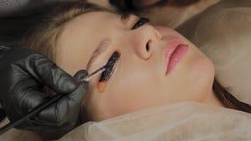 Ένα πολύ όμορφο κορίτσι σε ένα σαλόνι ομορφιάς κάνει μια ελασματοποίηση μαστιγώνει Το Beautician βάζει το χρώμα στα eyelashes φιλμ μικρού μήκους