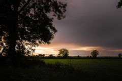 Ένα πορτοκαλί ηλιοβασίλεμα πέρα από τους τομείς του Γιορκσάιρ στο βόρειο τμήμα της Αγγλίας με μια σκιαγραφία ενός μεγάλου δέντρου στοκ εικόνα