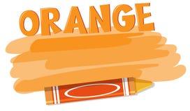 Ένα πορτοκαλί κραγιόνι στο άσπρο υπόβαθρο ελεύθερη απεικόνιση δικαιώματος