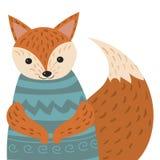Ένα πορτρέτο κινούμενων σχεδίων μιας αλεπούς Τυποποιημένη ευτυχής αλεπού στο πουλόβερ Σχεδιασμός για τα παιδιά Διανυσματική απεικ Στοκ Εικόνα