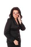 Ένα πορτρέτο των γυναικών στη μαύρη ακολουθία στο άσπρο υπόβαθρο Επιχειρησιακή κυρία, δάσκαλος, επιχειρηματίας Στοκ Φωτογραφία