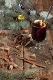 Ένα ποτήρι του θερμαμένων κρασιού και των καρυκευμάτων Στοκ Εικόνα