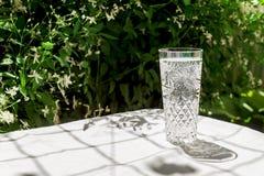 Ένα ποτήρι του καθαρού νερού με τις φυσαλίδες στέκεται σε έναν πίνακα με ένα άσπρο ύφασμα στα πλαίσια των θολωμένων λουλουδιών o στοκ φωτογραφίες με δικαίωμα ελεύθερης χρήσης