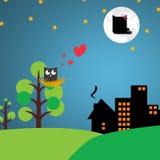 Ένα πουλί στη φωλιά στο ζεύγος δεσποινίδας δέντρων στο φεγγάρι εικονογράφος Στοκ εικόνες με δικαίωμα ελεύθερης χρήσης