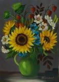 Ένα πράσινο βάζο με τα διαφορετικά χρωματισμένα λουλούδια διανυσματική απεικόνιση