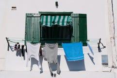 Ένα πράσινο παράθυρο με την ένωση πλυντηρίων για να ξεράνει Στοκ εικόνα με δικαίωμα ελεύθερης χρήσης