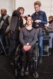 Ένα πρότυπο που παίρνει τα έτοιμα παρασκήνια στη επίδειξη μόδας FTL Moda κατά τη διάρκεια της πτώσης του 2015 MBFW Στοκ Φωτογραφίες