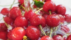Ένα ρεύμα του νερού χύνει στο κόκκινο κεράσι φιλμ μικρού μήκους
