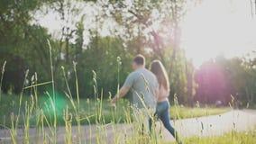 Ένα ρομαντικό ζεύγος σε ένα καθάρισμα μεταξύ των πράσινων δέντρων στις ακτίνες του φωτός του ήλιου Περπατούν γύρω, κρατώντας τα χ φιλμ μικρού μήκους