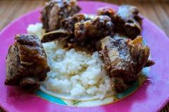 Ένα ρύζι με τα πλευρά χοιρινού κρέατος σε ένα πιάτο στοκ εικόνα με δικαίωμα ελεύθερης χρήσης