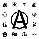 ένα σημάδι του εικονιδίου αναρχίας Λεπτομερές σύνολο εικονιδίων κομμουνισμού και σοσιαλισμού Γραφικό σχέδιο ασφαλίστρου Ένα από τ απεικόνιση αποθεμάτων