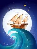 Ένα σκάφος επάνω από τα γιγαντιαία κύματα διανυσματική απεικόνιση