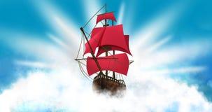 Ένα σκάφος με τα ερυθρά πανιά στα πλαίσια ενός σκοταδιού, νυχτερινός ουρανός με ένα αστέρι διανυσματική απεικόνιση