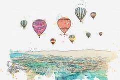 Ένα σκίτσο ή μια απεικόνιση watercolor Το διάσημο τουριστικό αξιοθέατο Cappadocia είναι μια πτήση αέρα Τουρκία απεικόνιση αποθεμάτων