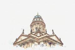 Ένα σκίτσο watercolor ή μια απεικόνιση Γαλλικά DOM καθεδρικών ναών ή Franzoesischer στο Βερολίνο, Γερμανία απεικόνιση αποθεμάτων