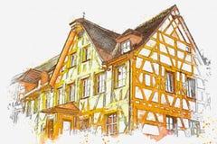 Ένα σκίτσο watercolor ή μια απεικόνιση της παραδοσιακής βαυαρικής αρχιτεκτονικής στη Γερμανία Διανυσματική απεικόνιση