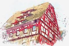 Ένα σκίτσο watercolor ή μια απεικόνιση της παραδοσιακής βαυαρικής αρχιτεκτονικής στη Γερμανία Απεικόνιση αποθεμάτων