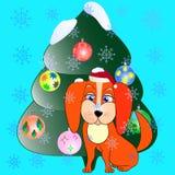 Ένα σκυλί και ένα χριστουγεννιάτικο δέντρο Στοκ φωτογραφίες με δικαίωμα ελεύθερης χρήσης