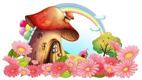 Ένα σπίτι μανιταριών με έναν κήπο των λουλουδιών διανυσματική απεικόνιση