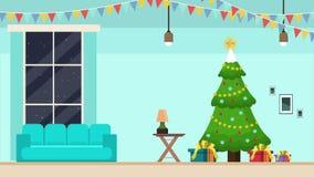 Ένα σπίτι σε ένα μήκος σε πόδηα τοπίων Χριστουγέννων δέντρων ελεύθερη απεικόνιση δικαιώματος
