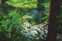 Ένα σπίτι φιαγμένο από καπνό καπνοδόχων σε ένα υπόβαθρο ενός πράσινου δάσους Στοκ φωτογραφία με δικαίωμα ελεύθερης χρήσης