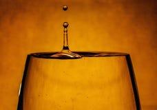 Ένα σταγονίδιο περιέρχεται σε ένα ποτήρι του νερού Στοκ Εικόνες