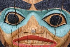 Ένα πρόσωπο του πόλου τοτέμ Στοκ Φωτογραφία