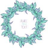 Ένα στεφάνι (πλαίσιο κύκλων) με τα μπλε και ιώδη φύλλα watercolor (βασιλικός) σε ένα άσπρο υπόβαθρο Στοκ Εικόνες
