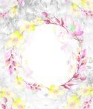 Ένα στρογγυλό πλαίσιο watercolor, μια κάρτα, ένα στεφάνι των λουλουδιών, κλαδίσκοι, εγκαταστάσεις, μούρα Εκλεκτής ποιότητας απεικ ελεύθερη απεικόνιση δικαιώματος