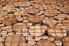 Ένα σχέδιο από τις άκρες των ξύλινων ακτίνων της κυκλικής διατομής στοκ εικόνες