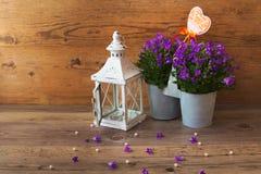 Ένα σύμβολο καρδιών αγάπης και ένα μπλε campanula λουλουδιών Στοκ εικόνες με δικαίωμα ελεύθερης χρήσης