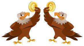 Ένα σύμβολο δολαρίων εκμετάλλευσης αετών και ένας άλλος αετός που κρατούν το ευρο- s Στοκ Φωτογραφίες