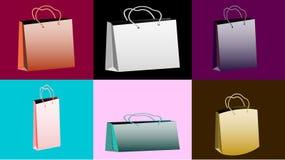 Ένα σύνολο έξι πολύχρωμων ρεαλιστικών ογκομετρικών τσαντών εγγράφου για τις αγορές των διαφορετικών μορφών και των μεγεθών με τις Στοκ φωτογραφία με δικαίωμα ελεύθερης χρήσης