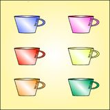 Ένα σύνολο απλών φλυτζανιών τσαγιού έξι στοιχείων Χρώματα στη συλλογή: Στοκ Φωτογραφία