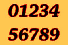 ένα σύνολο αριθμών 0, 1, 2, 3, 4, 5, 6, 7, 8, 9 Μαύροι αριθμοί Κίτρινη ανασκόπηση απεικόνιση αποθεμάτων