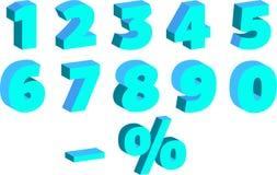 Ένα σύνολο αριθμών με την επίδραση τρισδιάστατου, για τις πωλήσεις, στις μπλε σκιές διανυσματική απεικόνιση
