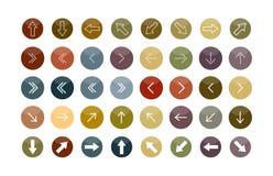 Ένα σύνολο βελών των διαφορετικών διαμορφώσεων στους χρωματισμένους κύκλους διανυσματική απεικόνιση